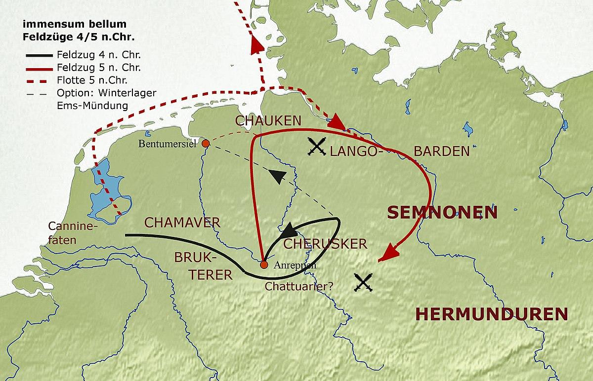 Varusschlacht Karte.Immensum Bellum Wikipedia