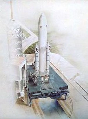Shuttle-Derived Launch Vehicle - 1978 image of a Morton Thiokol-proposed In-Line Shuttle Derived Launch Vehicle.