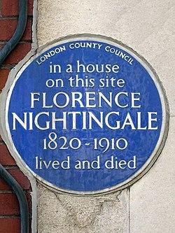Photo of Florence Nightingale blue plaque