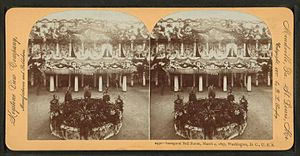 United States presidential inaugural balls - A stereoscopic view of a ballroom in Washington D.C. decorated for an inaugural ball held for the first inauguration of William McKinley on March 4, 1897
