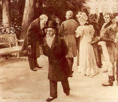 Goethe s'incline devant la famille impériale mais pas Beethoven qui passe son chemin. C'est l'incident de Teplitz en juillet 1812 par Carl Rohling (1887).