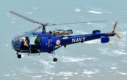 HAL Chetak from Indian Navy's INS Rana. Indian Navy Chetak flying (cropped).jpg