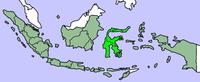 A térkép Celebesz helyét mutatja  (világoszölddel) Indonézia szigetei között.