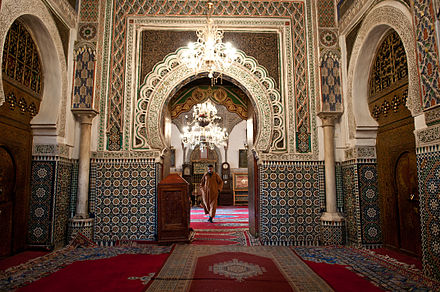 The interior of a mosque in Fes Inside of a mosque in Fes (5364764412).jpg