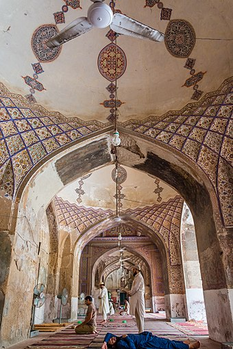 The Begum Shahi Mosque was completed in 1614 in honour of Jahangir's mother, Mariam-uz-Zamani. Interior of Mariyam Zamani Begum Mosque.jpg