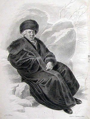 Gavrila Derzhavin - Posthumous engraving of Derzhavin  by Fyodor Iordan.
