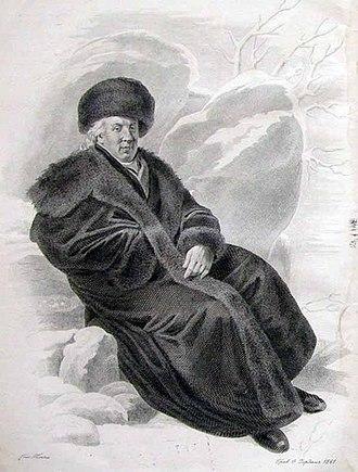 Gavrila Derzhavin - Posthumous engraving of Derzhavin  by Fyodor Iordan.