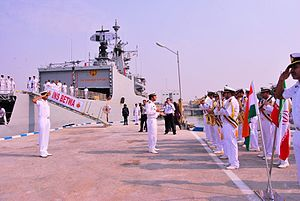 India–Iran relations - The Iranian Navy Band playing the Indian National Anthem during a ceremonial parade at Bandar-e-Abbas port; 28 August 2015