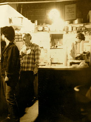 Last Exit on Brooklyn - Irv Cisski (second from left) in the kitchen of the Last Exit, circa 1983-85
