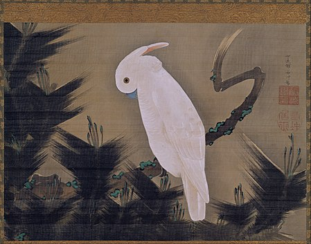 JAKUCHŪ Itō White Cockatoo on a Pine Branch, late 18th century