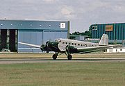 """Lufthansa Junkers Ju 52/3m D-CDLH, till 1984, known as """"Iron Annie N52JU,"""" painted as D-AQUI in historic Lufthansa colors (the livery this plane wore in 1936). D-CDLH has P&W engines, now with 3-bladed propellers."""
