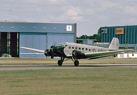 "A Lufthansa Junkers Ju 52/3m (registered D-CDLH), until 1984, known as ""Iron Annie N52JU"", was painted as D-AQUI in historic 1936 Deutsche Luft Hansa colors. D-CDLH has P&W engines, now with three-bladed propellers (ex Caiden). JU 52 3M.jpg"