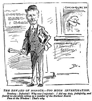 James Bradney - Observer newspaper cartoon of Captain Bradney while on the Auckland Harbour Board in 1909.