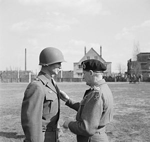 James M. Gavin - Gavin receiving the Distinguished Service Order from British Field Marshal Bernard Montgomery in Mönchengladbach on March 21, 1945.