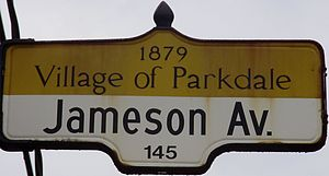 Jameson Avenue - A Jameson Avenue street sign