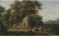 Jan Baptist van der Meiren - A wooded landscape with elegant company on horseback.PNG