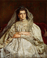 Portrait of Teodora Matejko née Giebułtowska in wedding dress.
