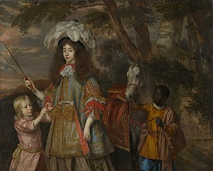 Portrait of Maria of Orange (1642-1688), with Hendrik van Zuijlestein (d. 1673) and a Servant