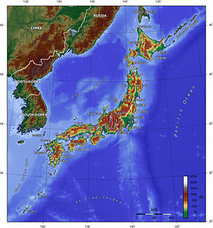 Geography of Japan - A topographic map of Japan.