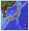 Peta topografi Jepun