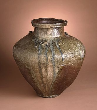 Japanese craft - Coil-built Tokoname stoneware with ash glaze. Kamakura period, 14th century