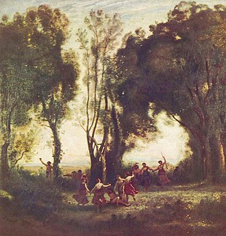 Jacob wrestling with the Angel (Delacroix) - Delacroix  admired the way Corot  painted trees-  :it was at Champrosay Delacroix came to think they 'should be built up in tints of light like flesh'