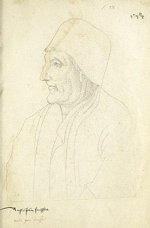 """Jean Froissart - Posthumous portrait of Jean Froissart, """"Recueil d'Arras"""", Jacques Le Boucq"""