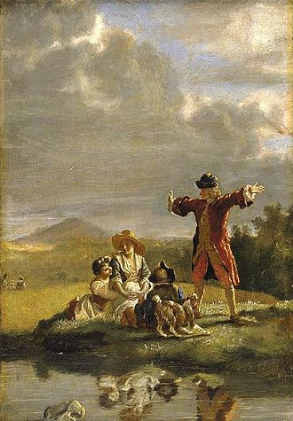 Jean Huber - Voltaire narrating a fable