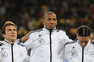 Jérôme Boateng - Boateng lining up for Germany with Mario Götze (left) and Mesut Özil (right) prior to a match in 2011