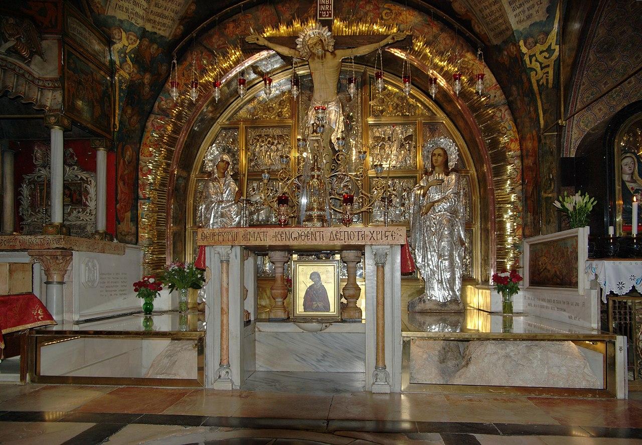 Altar über dem Golgathafelsen - Sehenswürdigkeit in Jerusalem / Israel - vergrößerbar