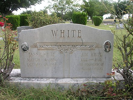 Headstone of Jim and Fannie White from Carlsbad Municipal Cemetery, Carlsbad, New Mexico, October 12, 2008. Jim and Fannie White Headstone.jpg