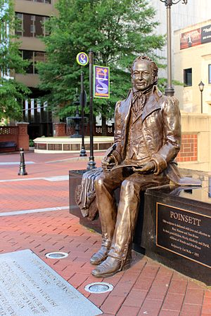Joel Roberts Poinsett - Statue of Joel Poinsett by Zan Wells (2001), Greenville, South Carolina.