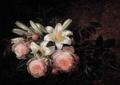 Johan Laurentz Jensen - Lyserøde roser og hvide liljer.png
