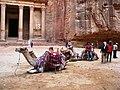 Jordan, Petra, Khaznat el- Faroun or Pharaoh's treasury (Monument and camels).jpg
