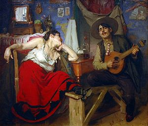 The Fado, painting by Portuguese artist José M...