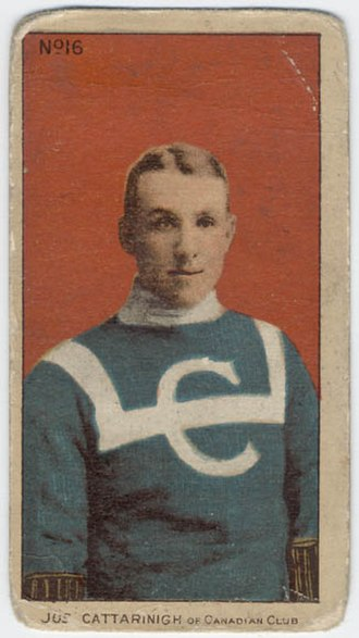 Joseph Cattarinich - A cigarette pack hockey card showing Cattarinich in the original Canadiens uniform of 1909–10.