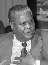 A black-and-white photograph of Joshua Nkomo