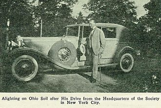 Joseph Franklin Rutherford - Rutherford with Cadillac V-16 from the Watchtower publication The Messenger (1931)