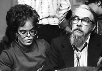 Lester del Rey - Judy-Lynn and Lester del Rey at Minicon in Minneapolis, 1974
