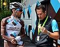 Julien Jurdie et Jean-Christophe Péraud avant le départ de la quatrième étape du Tour de l'Ain 2014 à Nantua (Ain).jpg