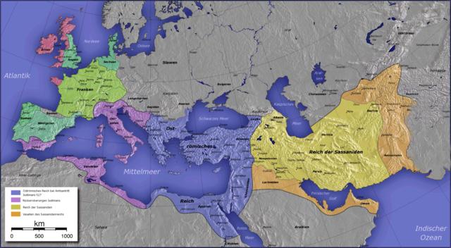 Расширение территории Византии с начала правления Юстиниана (синим цветом выделена империя на момент начала правления Юстиниана в 527 году) и до его смерти (фиолетовым цветом выделены завоёванные полководцами Юстиниана территории к 565 году)
