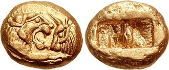 Achaemenid coinage - Coin type of Croesus, the Croeseid, minted in Lydia, under the rule of Cyrus the Great to Darius I. Circa 545-520. It only weighs 8.06 g, compared to the standard 10.7 grams of the Croeseid.