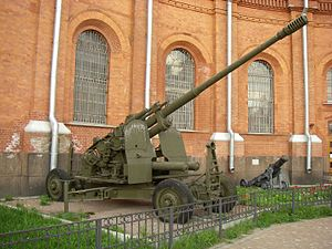 100 mm air defense gun KS-19 - KS-19 in Saint Petersburg Artillery Museum.