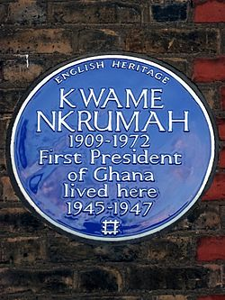 Kwame nkrumah 1909 1972 first president of ghana lived here 1945 1947