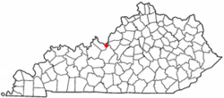 Location of Muldraugh, Kentucky