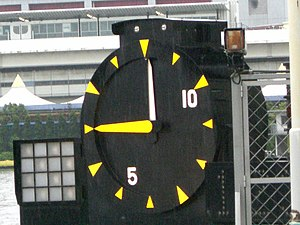 Kyōtei - A large clock is used to count down to the start of each race.