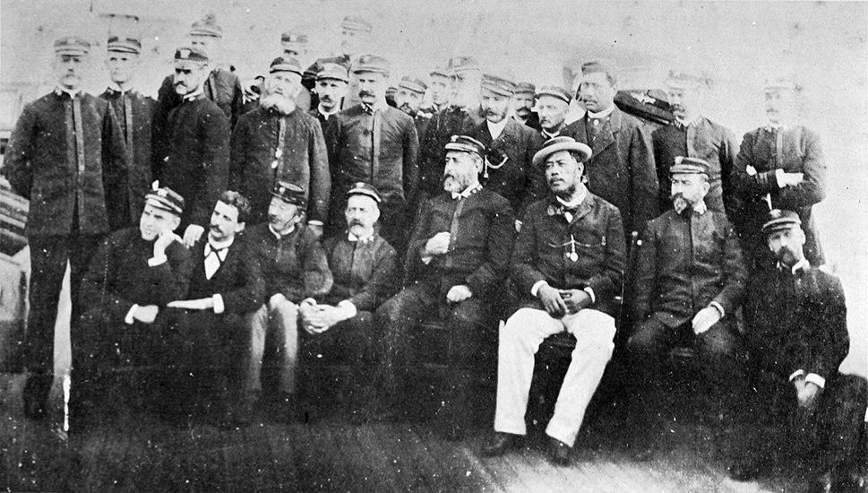 Kalakaua aboard the U.S.S. Charleston