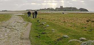 Mols Bjerge National Park - The cobbled embankment to the Kalø Castle ruins.