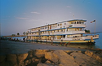 Transport in Mali - The Kankou Moussa river ferry on the Niger river at Korioume, 2008.