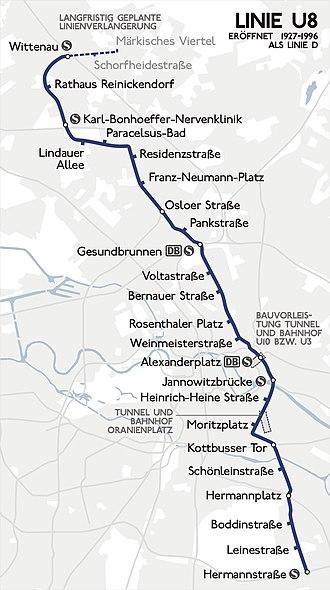 U8 (Berlin U-Bahn) - Image: Karte berlin u u 8